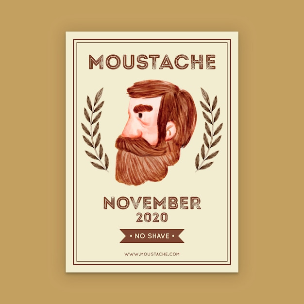 Movember poster template Free Vector