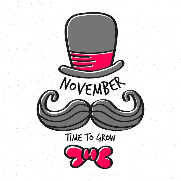 Movember time to grow background with hat, mustache and bow tie Free Vector