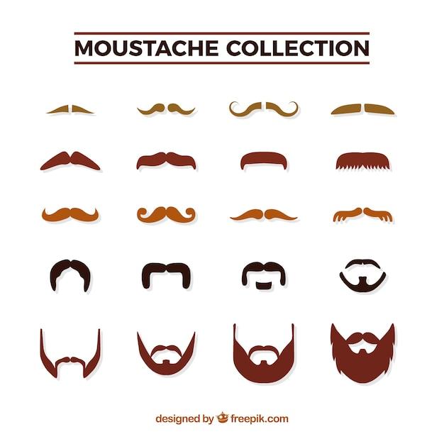 Movemberのための口ひげパック 無料ベクター
