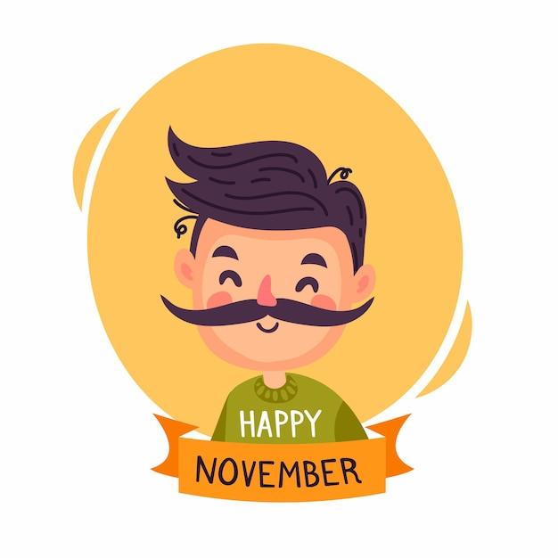 Movemberイベントのかわいいキャラクターのアバター 無料ベクター