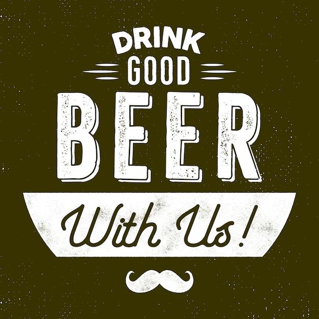 Пиво в винтажном стиле. пей хорошее пиво с нами знаком. символ movember - с усами Premium векторы