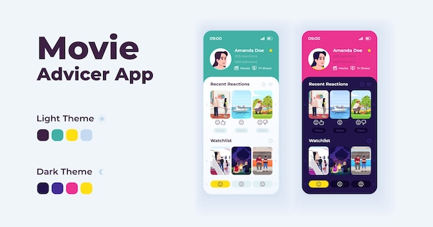 Movie advisor app cartoon smartphone interface  templates set. mobile app screen page day and night modes . film suggestions ui for application. phone display with  illustrations Premium Vector