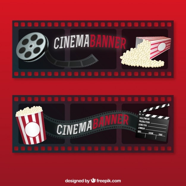 Movie Banners With Cinema Material Free Vector