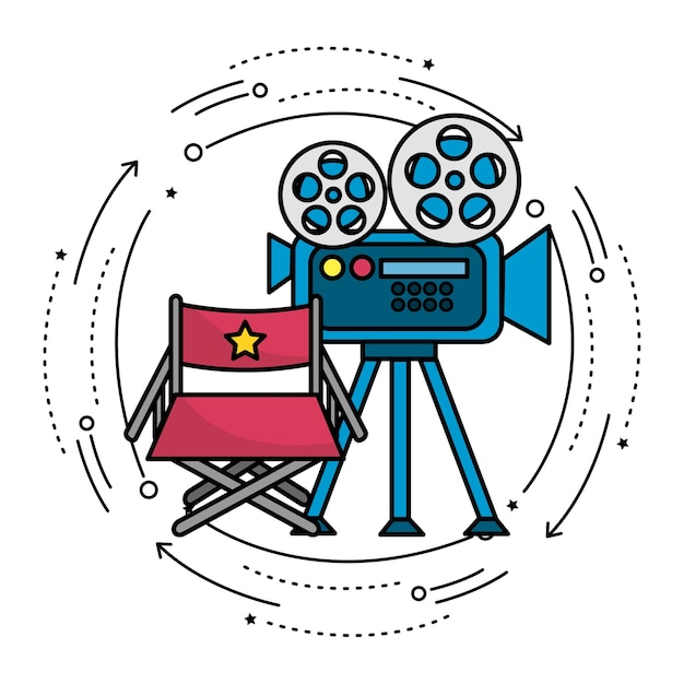 Movie camera with reel scene and director seat Premium Vector