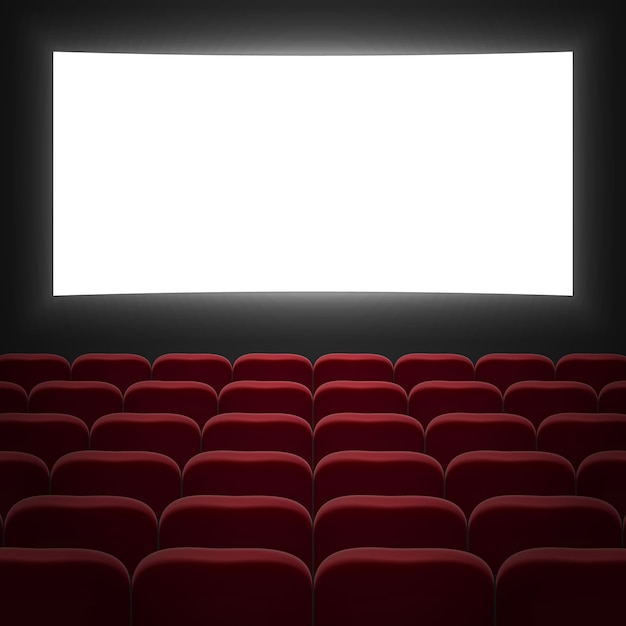 Movie cinema hall with white screen and red row chairs Premium Vector