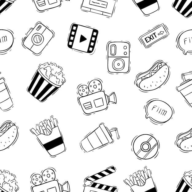 Movie or cinema icons in seamless pattern with doodle style on white background Premium Vector