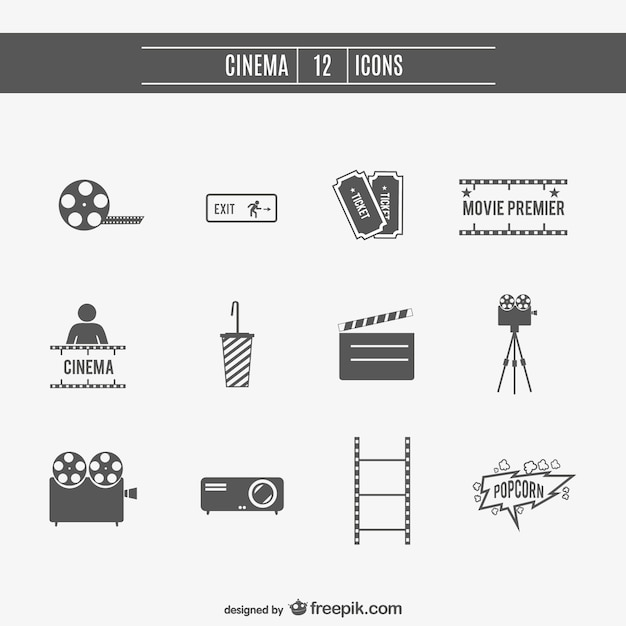 Movie cinema icons set  Free Vector