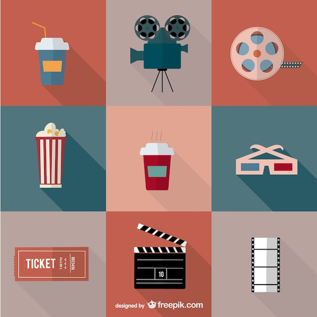 Movie cinema icons Free Vector