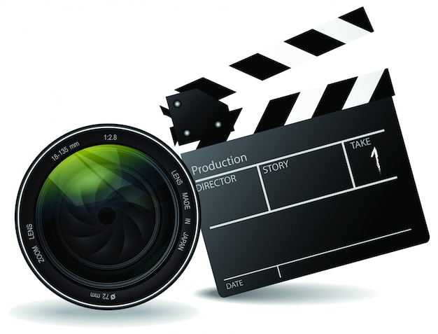 Movie clapper board and lens vector, movie and entertainment concept Premium Vector