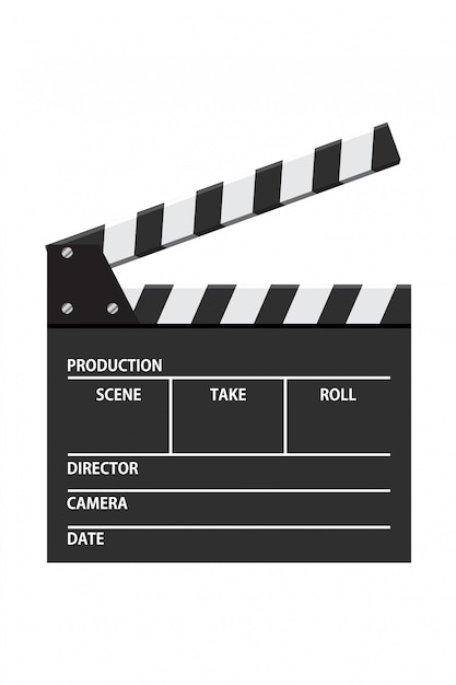 Movie clapper board vector illustration. video icon. film making industry Premium Vector