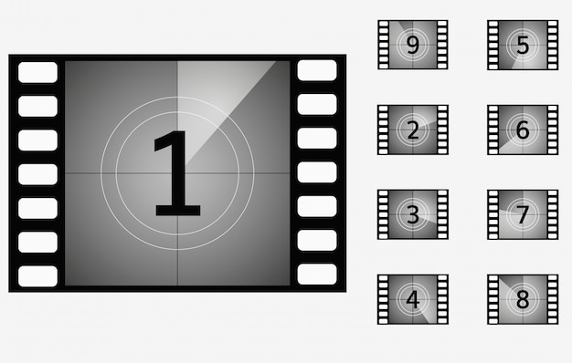 Movie countdown timer cinema presentation frame set Premium Vector