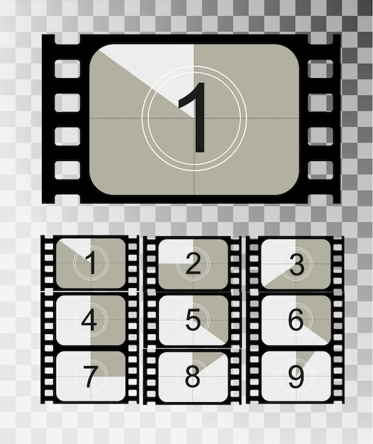 Movie countdown, vintage silent film and blank full frame still photography film realistic thirty five millimeters proportions, set of icons Premium Vector