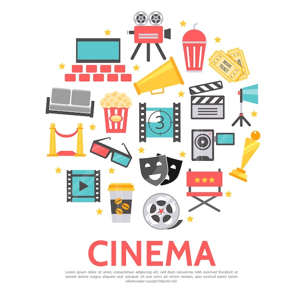 Movie elements round template in flat style Free Vector