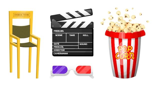 映画の要素。ビンテージ映画、エンターテイメント、ポップコーンを使ったレクリエーション。レトロなカチンコ。映画制作、ビデオカセット、椅子、ハリウッドスタジオ用のフィルムストック。 Premiumベクター