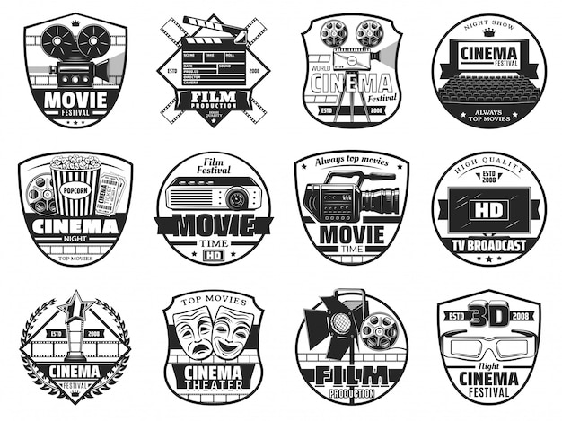 Movie festival, cinematography theater icons Premium Vector