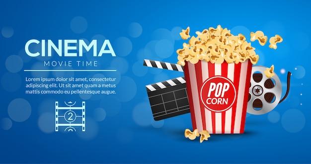 Movie film banner design template. cinema concept with popcorn, filmstrip and film clapper. Premium Vector