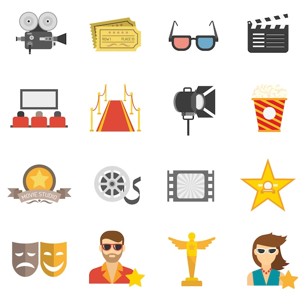 Movie icons flat Free Vector