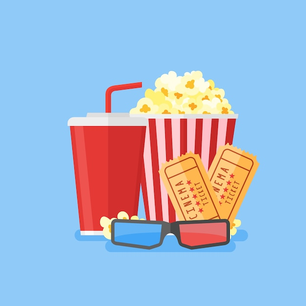 Movie Illustration Popcorn Soda Takeaway 3d Cinema Glasses And Tickets Cinema Design In Flat Style Premium Vector