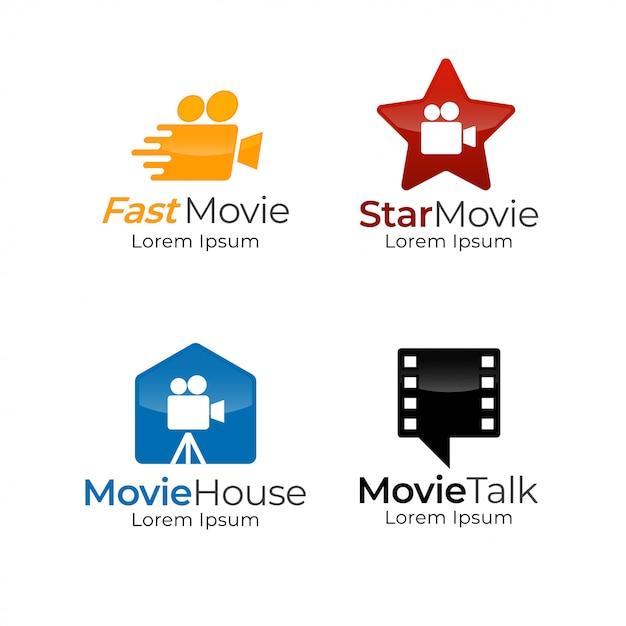 Movie logo template Premium Vector