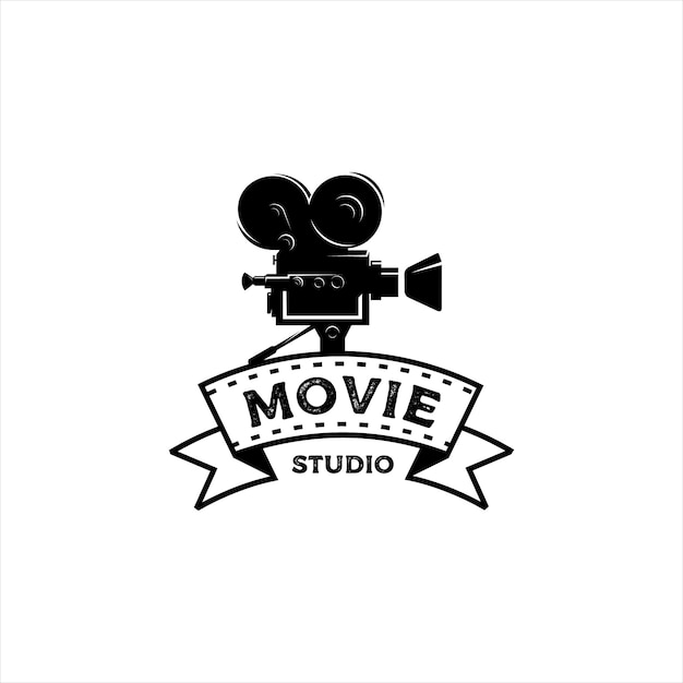 Movie maker studio vintage logo Premium Vector