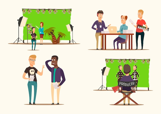 Movie making 2x2 concept Free Vector