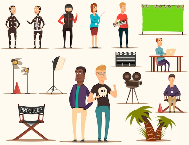 Movie making elements set Free Vector
