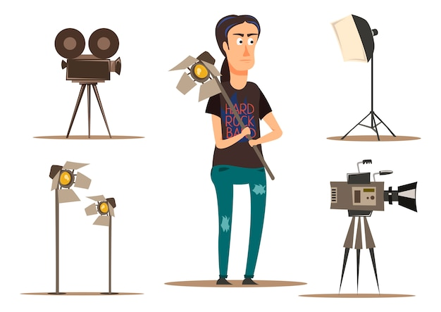 Movie making group set Free Vector