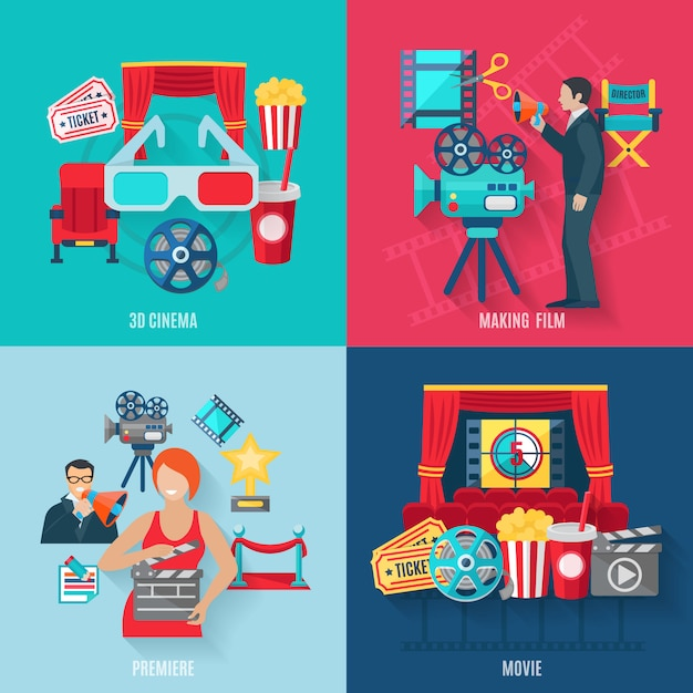 Movie making and premiere icons set with 3d cinema film stars and director Free Vector