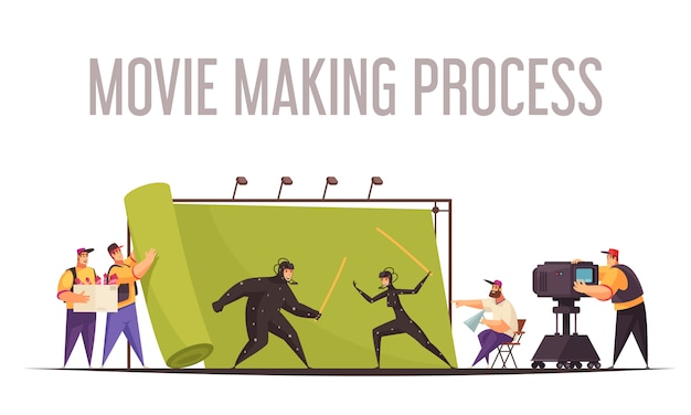 Movie making process flat cartoon composition with film director and camera operator shooting fighting actors Free Vector