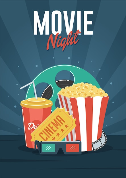 Movie night. can be used for flyer, poster, banner, ad ...