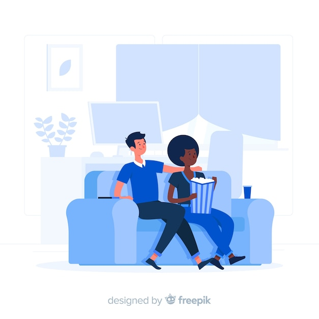 Movie night concept illustration Free Vector
