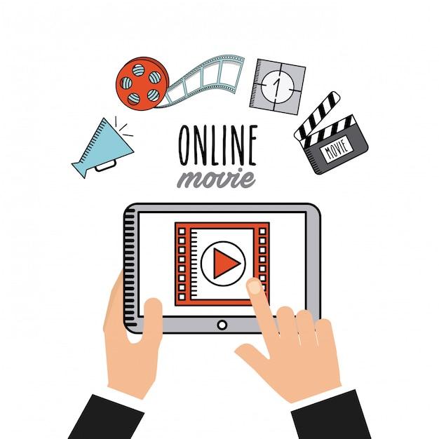 Movie online flat line icons Premium Vector