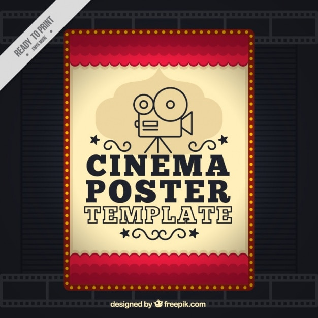 Movie poster in vintage style vector free download for Movie poster credits template free