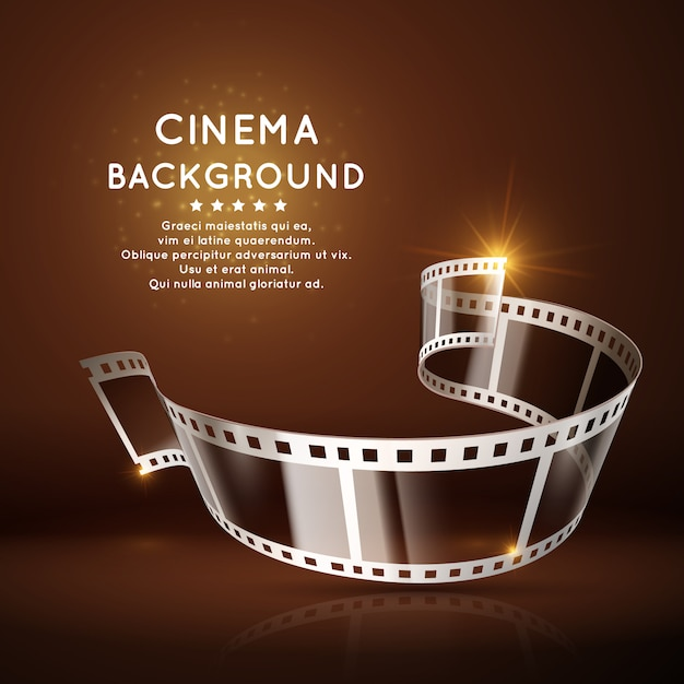 Movie poster with film 35mm roll Premium Vector