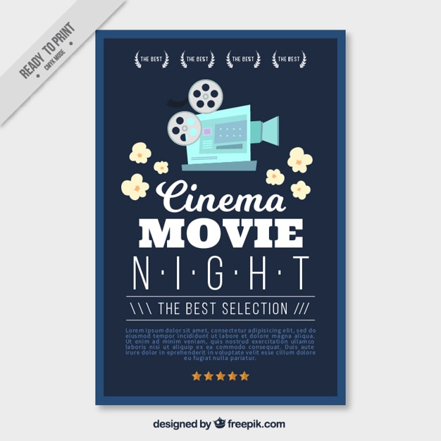 Movie poster with vintage camera and popcorn Free Vector
