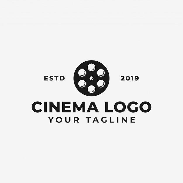 Movie reel, cinema, film production logo template Premium Vector