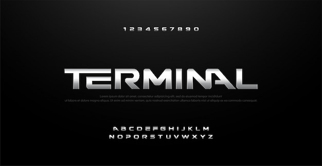 Movie silver metal chromeアルファベットタイポグラフィーフォント Premiumベクター