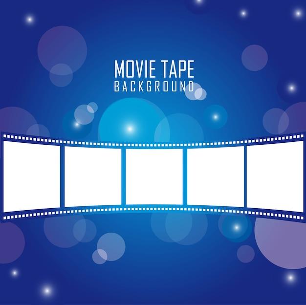 Movie tape over blue background vector illustration Premium Vector