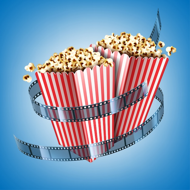 フィルムストリップとストライプの紙箱にポップコーンの映画館のチラシ。青の背景にポップコーンとシネマテープで白と赤のバケツのリアルなイラスト 無料ベクター