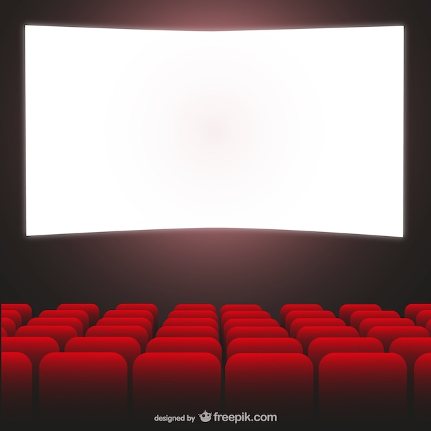 Movie theater red seats and cimena screen Free Vector