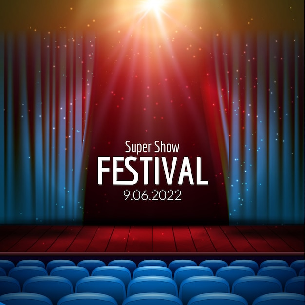 Movie theater with row of red seats background template Premium Vector