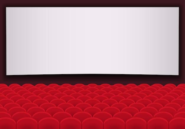 빨간색 좌석과 빈 흰색 화면의 행과 영화관. 시네마 강당. 프리미엄 벡터