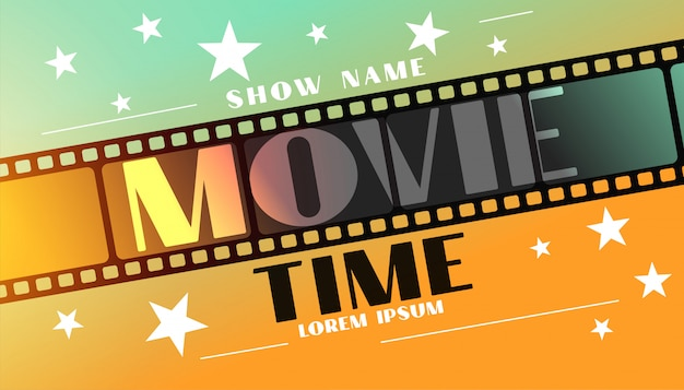 Movie time background with film strip and stars Free Vector
