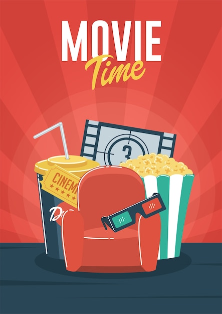 Cinema and Movie time stock vector. Illustration of