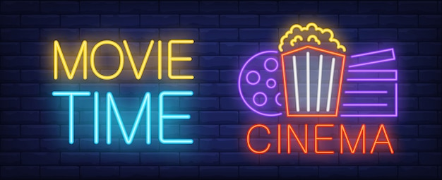 Movie time neon sign. popcorn bucket, clapperboard and film reel on poster. Free Vector