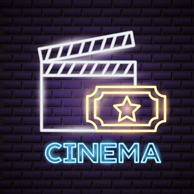 Movie time neon sign sign Free Vector