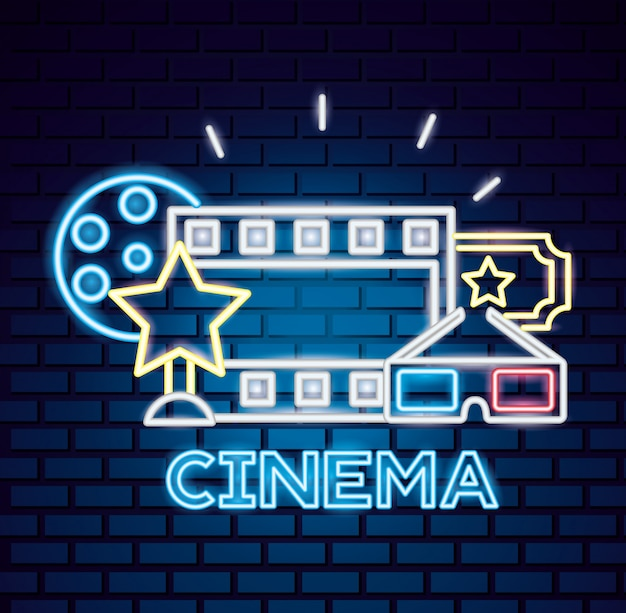 Movie time neon sign Free Vector