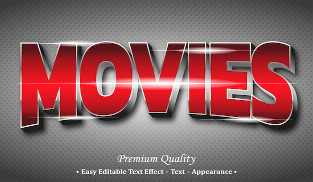 Movies 3d editable text style effect Premium Vector