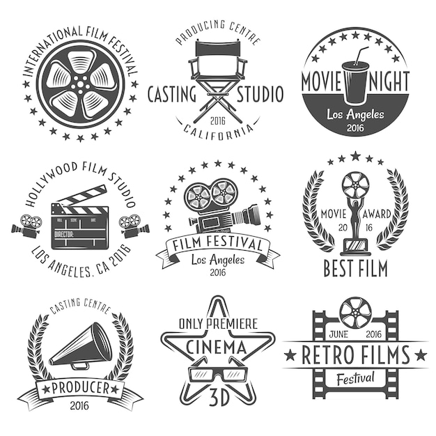 Movies black white emblems set Free Vector
