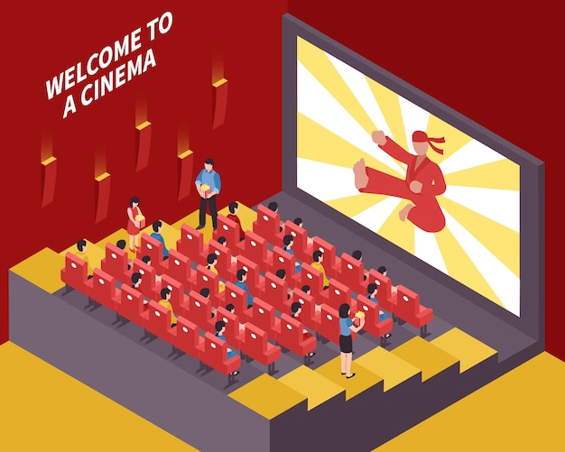 At the movies composition Free Vector